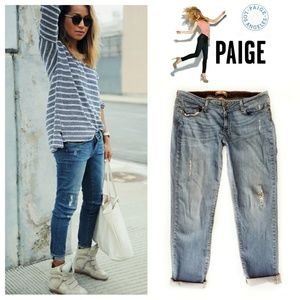 Paige Distressed Boyfriend Jeans In Donovan Wash